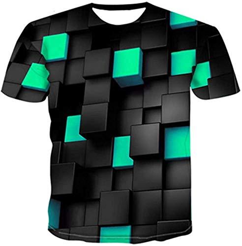 NAMAMI T-Shirt 3D Digital Cool Chequered Diamond Unisex Leisure Short Sleeve Shirt,Dz-032,Large