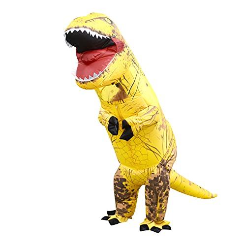 Disfraz Inflable del Dinosaurio, Traje de Halloween, Fiesta Cosplay Ropa de Dibujos Animados Dino vestirse niños Amarillo