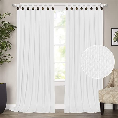 White Curtains 96 Inch Farmhouse Cotton Blend Curtains 2 Panels Tab Top Curtains with Boho Rustic Button Privacy Added Light Filtering Window Drapes for Bedroom Living Room (52 x 96 Inch, White)