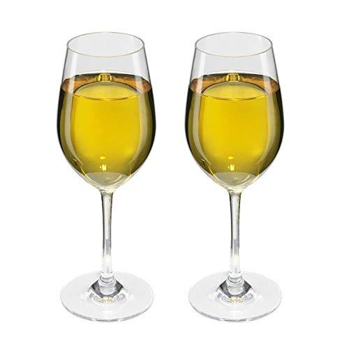 Viva Haushaltswaren - 2 x bruchfestes Weißweinglas 250 ml aus hochwertigem Kunststoff, edles Weingläser Set für Outdoor-Aktivitäten etc. (wie echtes Glas)