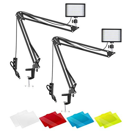 Neewer Video Conference Lighting Kit for Zoom Call Meeting/Remote Working/Self Broadcasting/YouTube Video/Live Streaming: 2-Pack Dimmable 5600K LED Video Light with Scissor Arm Stand & Color Filters