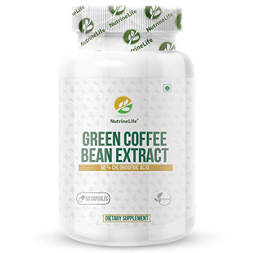 NutrineLife Pure and Natural Green Coffee Bean Extract Capsules Weight Loss For Men And Women, Natural Supplements for weight management and Appetite Suppressant, 800 Mg, 50% Chlorogenic Acid, 60 Veg Capsules (Pack of 1)