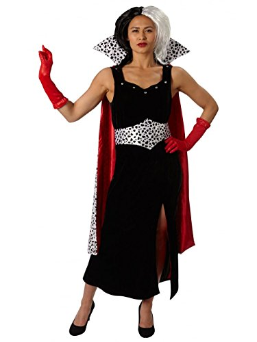 101 Dálmatas - Disfraz de Cruella de Vil Premium para mujer, talla M adulto (Rubie's 810245-M)