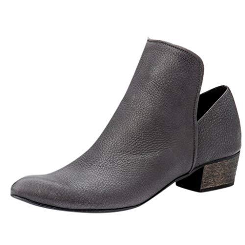 Ms·Wang Damen Mode Weibliche Kurze Stiefel Starke Ferse Schuhe, Frauen Retro Blockabsatz Slip On Stiefeletten Med Heels mit Chelsea Boots Frauen Modische Stiefel Ankle Boots Keilstiefel