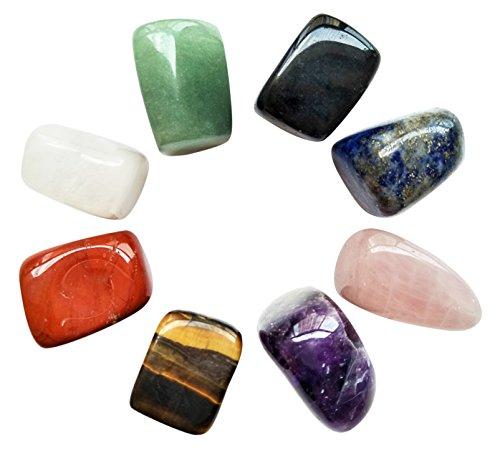 Lot de 8 pierres de chakra naturelles pour thérapie par les cristaux, guérison des chakras, méditation, relaxation et décoration
