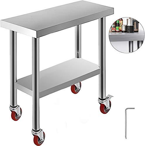 VEVOR Mesa de Trabajo de Cocina Mesa de Trabajo Acero Inoxidable para Cocina 762 x 305 mm con 4 Ruedas para Preparar Alimentos Mesa para Cocina Movil