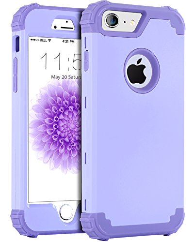 iPhone 6S Plus Case, iPhone 6 Plus Case, BENTOBEN Anti-Scratch Non-Slip 3 in 1 Hybrid Heavy Duty Rugged Hard PC Shockproof Silicone Bumper Protective Case for iPhone 6S Plus/6 Plus (5.5'), Purple