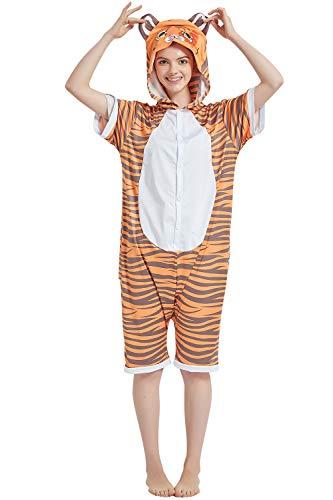 YAOMEI Adulto Unisexo Onesies Kigurumi Pijamas Verano, Mujer Hombres Traje Disfraz Animales Mangas Cortas, Ropa de Dormir Halloween Cosplay Navidad de Vestuario (L, Tigger)