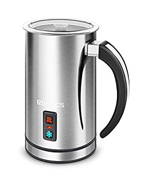 EZBASICS Milk Frother Milk Steamer Foam Maker for Coffee Latte Hot Chocolates Cappuccino Electric Milk Frother Stainless Steel Automatic Hot and Cold Milk Frother Warmer with Heat Froth Whisks