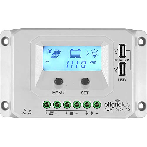 Offgridtec® PWM Pro Laderegler 12V/24V 20A USB