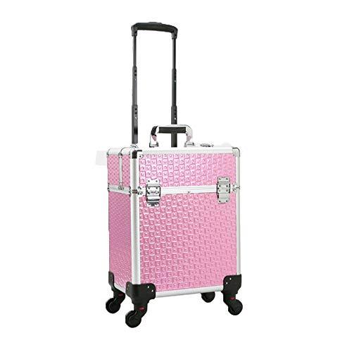 WANZIJING Portable Case Trolley cosmétiques Maquillage Beauté Nail Salon Salon de Coiffure Voyage Stockage Roue Universelle Grande capacité légère,Rose,B