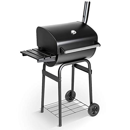 BillyOh Charcoal BBQ Grill | Barrel Barbeque with Side Shelf | Portable Barbecue with Wheels | Black BBQ 79x124x48cm | Outdoor Charcoal Grill | Patio Garden Barbeque