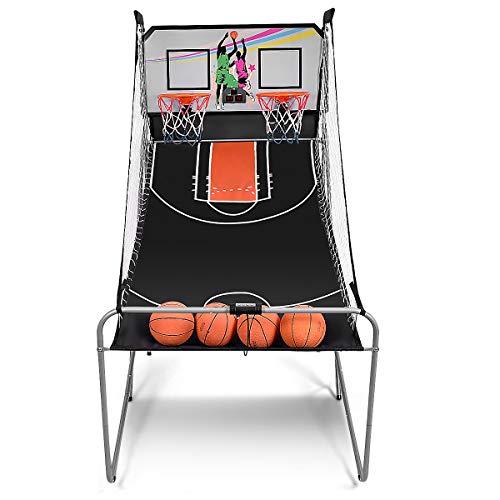 DREAMADE Macchina da Pallacanestro Elettronico,Gioco di Basket Arcade, Canestro da Basket Gioco Pieghevole, con Contatore Elettronico e 4 Palle, 202 x 102 x 205cm