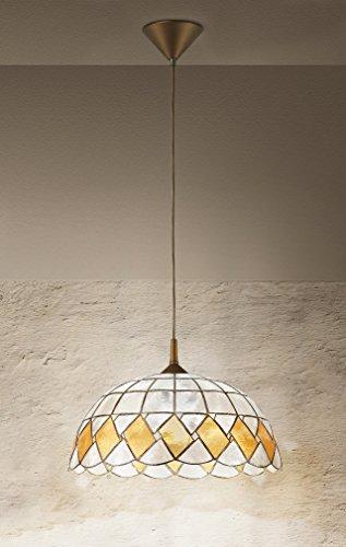 Lampadario a sospensione marca Perenz Lampadario da soffitto realizzata in madreperla decorata con pendel oro