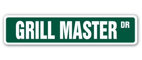 Mesllings Grill Master Street Sign Cook BBQ Grilling Cookout Bar | Binnen/buiten | 6