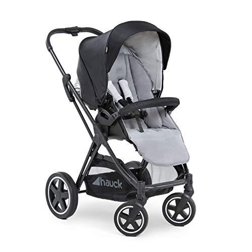 Hauck Mars Sportwagen mit Beindecke, Sitz drehbar, bis 25 kg, 3XL Verdeck, großer Korb, kompakt faltbar, kompatibel mit Babywanne & Babyschale, schwarz grau