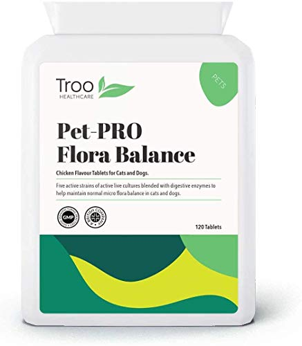 Pet-PRO Vital Probiotics For Dogs and Cats 2 Billion cfu 120 Chicken Tablets | Added Digestive Enzymes and Inulin Prebiotic | UK Manufactured to GMP Standards