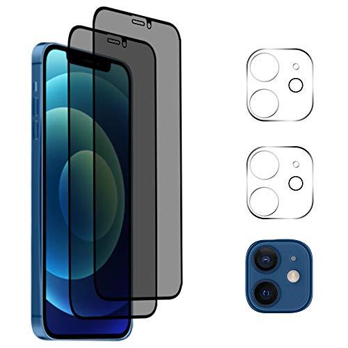 "AiMok [2 Stück Privacy Panzerglas Schutzfolie Kompatibel mit iPhone 12 Mini [5.4\""] + [2 Stück] Panzerglas Kamera Folie, [Anti-Spy] [Kratzfest] [Doppelschutz] 9H Härte Blickschutzfolie"