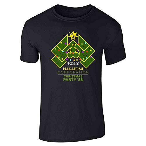 Pop Threads Nakatomi Plaza 1988 Christmas Party Costume Black L Graphic Tee T-Shirt for Men