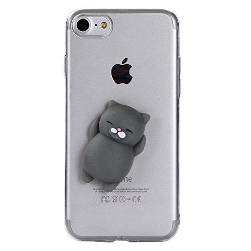 SevenPanda für iPhone XR Hülle Squishy 3D Niedliches Karikatur Muster Weiche Stoßfest Stoßstange Ultra Klares Silikon Gel für iPhone XR (6.1 Zoll) Silikon Haut Abdeckungs Tierentwurf - Bär