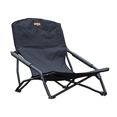 S'more(スモア) IronLow Armchair アウトドアチェア キャンプ チェア 椅子 折り畳み 折りたたみ椅子 アウトドア おしゃれ 鉄 ローチェア オックスフォード 収納袋付き (BLACK)