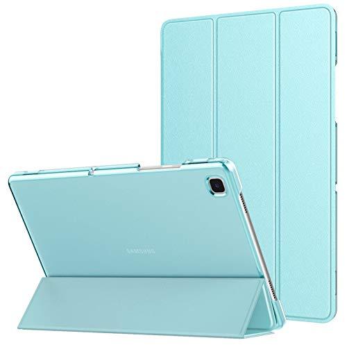 MoKo Funda Compatible con Samsung Galaxy Tab A7 10.4' 2020 SM-T500/T505/T507, Delgada Cubierta Estuche Inteligente con Soporte Plegable Función Auto Reposo/Estela Trasera Transparente, Azul Claro