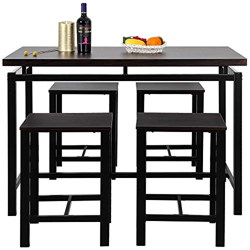 Dining Table Set 5 Piece Practical Room Table Set with 4 Chairs for Kitchen Bar Restaurant Counter Height Table (Black)