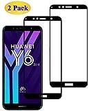 Eachy Cristal Templado Huawei Y6 2018 Vidrio Templado, [2 Unidades] Protector de Pantalla Huawei Y6 2018 Cobertura Completa 5,7 Pulgadas-Negro