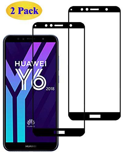 Eachy Huawei Y6 2018 Panzerglas Schutzfolie,[2 Stück] Vollständige Abdeckung Ultra-klar Bildschirmschutzfolie für Huawei Y6 2018 Panzerglasfolie 5,7 Zoll-Schwarz(0,33 mm)