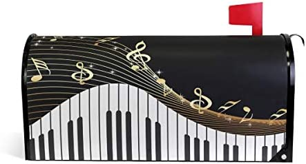 BETTKEN Magnetic Mailbox Cover Piano Music Note Mailbox Wrap Home Decor Art Post Letter Box product image