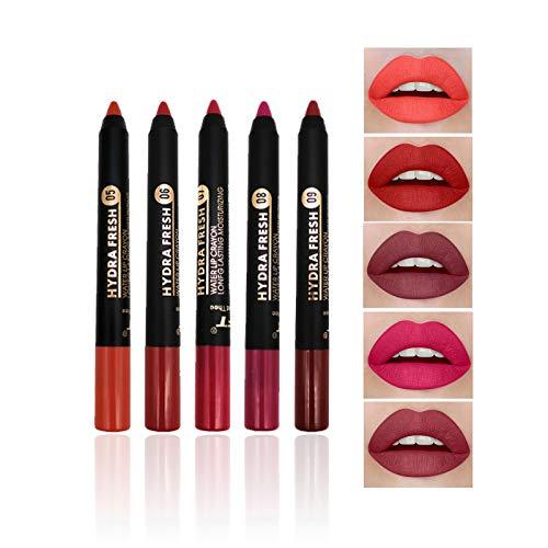 Juego de lápiz labial mate de 5 colores, Kiogyek lipstick de terciopelo desnudo, resistente al agua de larga duración, con sacapuntas de dos orificios juego de maquillaje Nude Tint (B)