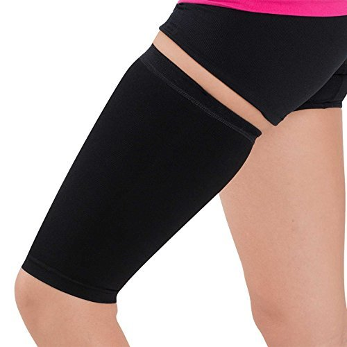 Thigh Compression Sleeve – Hamstring, Quadriceps, Groin Pull and Strains – Running, Basketball, Tennis, Soccer, Sports – Athletic Thigh Support (Single) (S/M, Black)