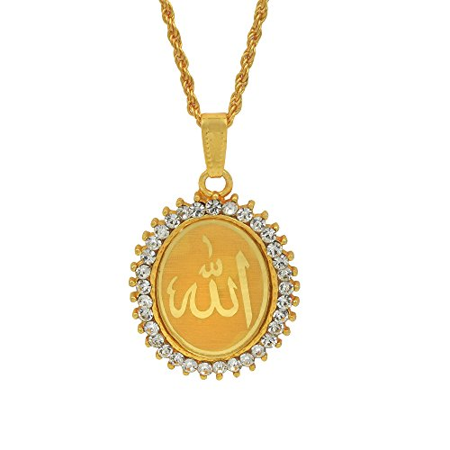 Memoir Gold Plated CZ Studded Allah Word Embossed Oval Musli