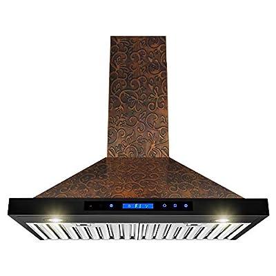 AKDY Wall Mount Range Hood - Embossed Copper Hood Fan for Kitchen - 4-Speed Professional Quiet Motor - Premium Touch Control Panel - Elegant Vine Design - Dishwasher Safe Baffle Filters