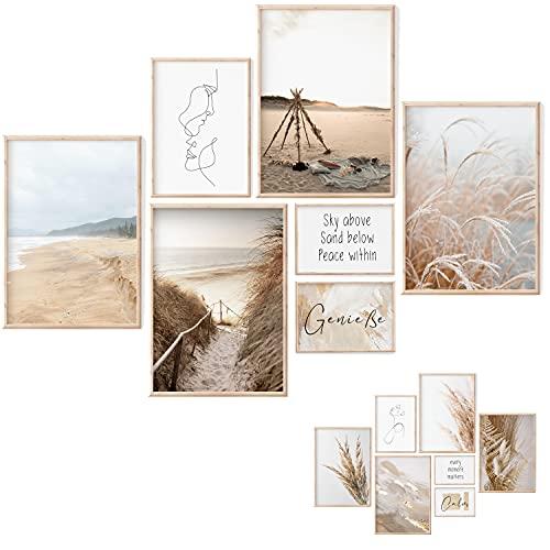 Premium Home   Juego de imágenes naturales playa Estética Imágenes Pampas en ambos lados para la playa, salón, dormitorio decoración (4 x A3 1 A4 2 A5 sin marco, CLASSY BEACH)