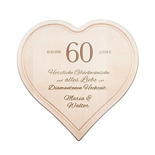 Casa Vivente Herz Schneidebrett mit Personalisierter Gravur und Saftrille, Glückwunsche zur...