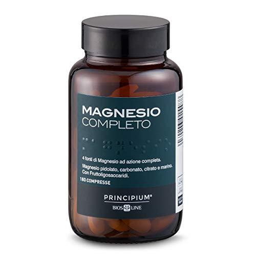 BIOS LINE Principium, Magnesio completo, Gusto agrumi, 4 fonti di magnesio ad azione completa, Integratore anti stress, Senza glutine e senza lattosio (180 Capsule)