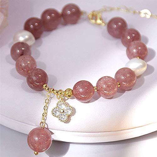 Feng Shui riqueza Pulsera de la riqueza Cuarzo de la fresa Pulsera de cristal de la cadena de oro con adornos de la cadena de oro Lucky Charms Atrae la buena suerte amor brazalete joya regalo para las
