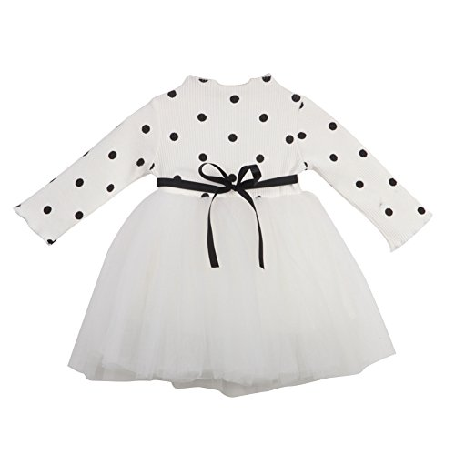 BiggerStore Kids Toddler Baby Girls Long Sleeve Polka Dots Knitted Sweater Princess Party Tutu Dress (12-18 Months, White)
