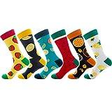 DAKIFENEY 6 Pares de Calcetines de algodón Unisex Divertidos y novedosos, calcetería para patineta de Frutas y limón, Calcetines de Pareja, Colores Mezclados