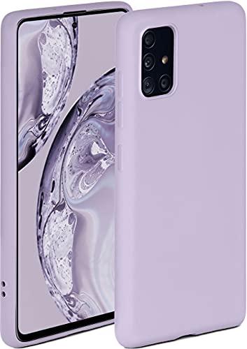 ONEFLOW Funda blanda compatible con Samsung Galaxy A51, de silicona, borde elevado para protección de pantalla, doble capa, suave, color lila mate