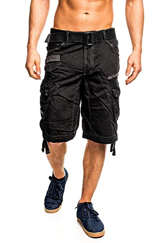 6J3 Geographical Norway People Herren Bermuda Shorts Kurze Hose Schwarz XXL