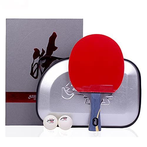LINGOSHUN Raquetas de Ping Pong Profesional con Estuche para Raquetas,Raquetas de Tenis de Mesa Ofensivos,Adecuado para Entrenadores Y Atletas Mayores / 1 Pack/Long handle