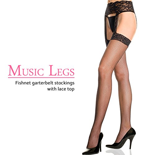 『MUSIC LEGS センター ガーターベルト 一体型レーストップ フィッシュネットストッキング (ブラック)』の1枚目の画像