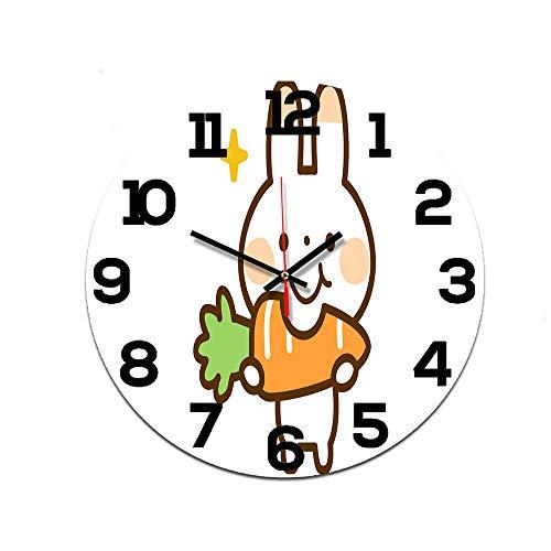 LUOYLYM Reloj De Pared De Dibujos Animados Simple Reloj De Acrílico Movimiento De Silencio Inicio Reloj De Pared Creativo Reloj Artesanal Reloj De Alarma Sin Bordes Ctt-154 28cm