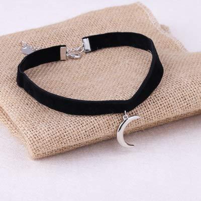 weichuang 1 collar de terciopelo negro con colgante de luna 3D de Corea con cuerda de terciopelo para mujer (metal chapado en plata).