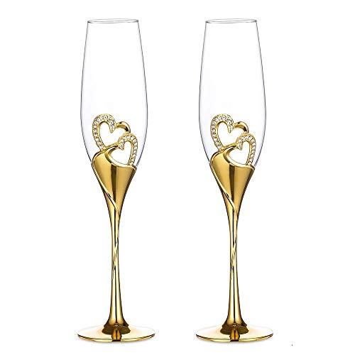 Sziqiqi Lot de 2 Flûtes à Champagne, Ensemble de 2 Verres à Champagne de Mariage, Coupe De Champagne Créative, Parfaits pour Les Cadeaux de Mariage Fêtes Anniversaires, 6,6 oz, Or