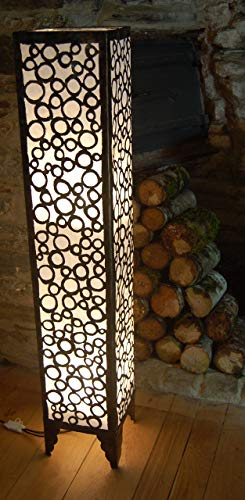 Morroccan Style Metal and Fabric Floor Standing lamp from Bali - White