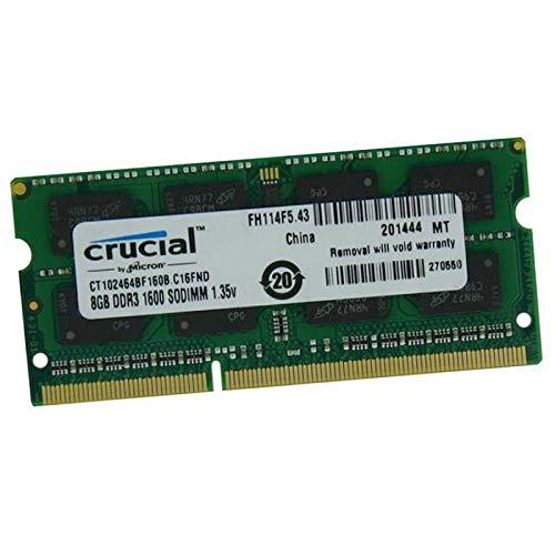 Crucial 8GB RAM CT102464BF160B.C16FND SODIMM DDR3 PC3L-12800S 1600Mhz 1.35v CL11