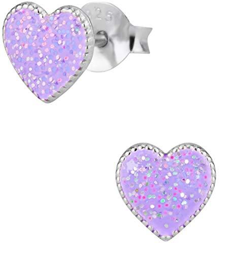 Hypoallergenic Sterling Silver Heart Stud Earrings for Kids, Glitter (Light Purple)